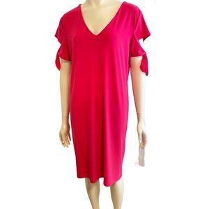 CLARA SUN WOO Hot Pink Tie Cuff Dress XL NWT